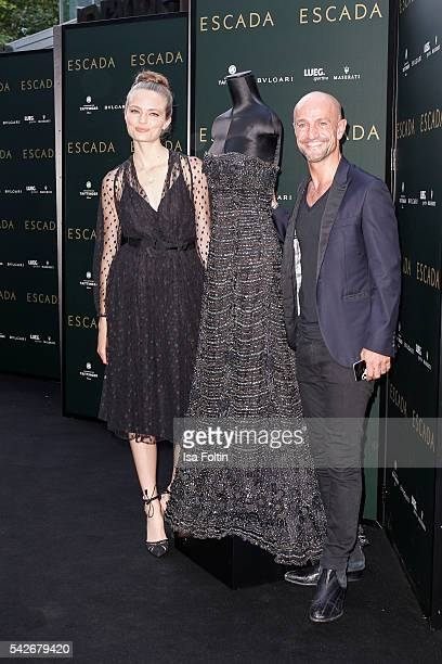 German model Anna Mila Guyenz and Peyman Amin attend the ESCADA Flagship Store Opening on June 23 2016 in Duesseldorf Germany