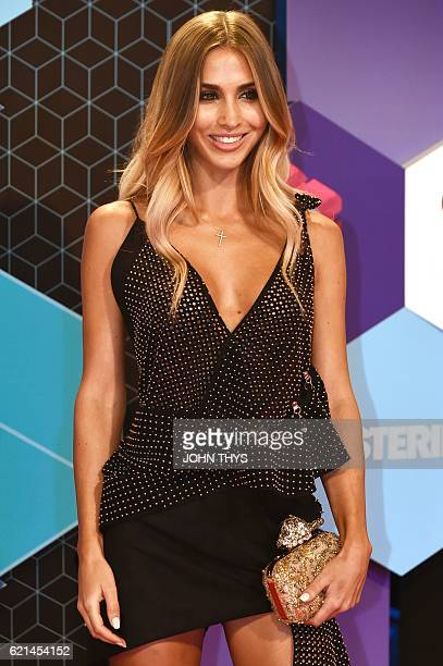German model AnnKathrin Brommel poses on the red carpet at the MTV Europe Music Awards on November 6 2016 at the Ahoy Rotterdam in Rotterdam / AFP /...