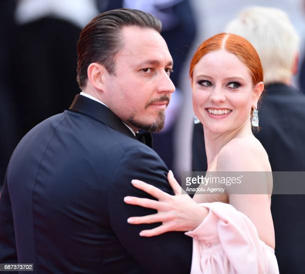 German model Barbara Meier and Austrian Klemens Hallmann arrive for the 70th Anniversary Ceremony of Cannes Film Festival in Cannes France on May 23...