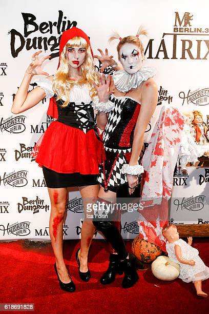 German model Fata Hasanovic and german model Kim Hnizdo attend the Halloween party by Natascha Ochsenknecht at Berlin Dungeon on October 27 2016 in...
