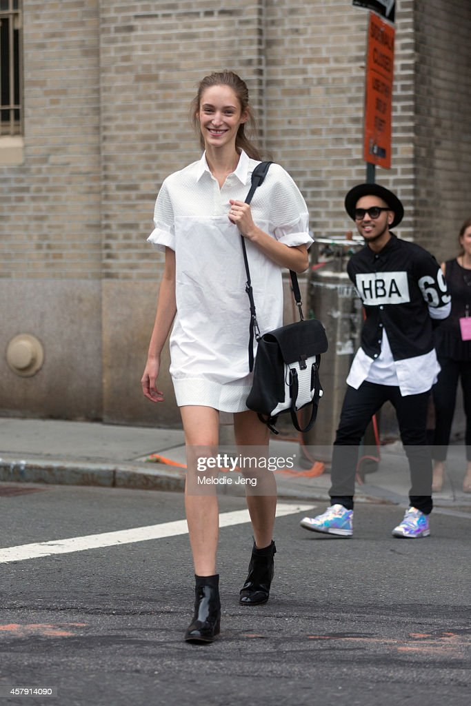German model Franzi Mueller exits the 3.1 Phillip Lim show in a Phillip Lim outfit on Day 5 of New York Fashion Week Spring/Summer 2015 on September 8, 2014 in New York City