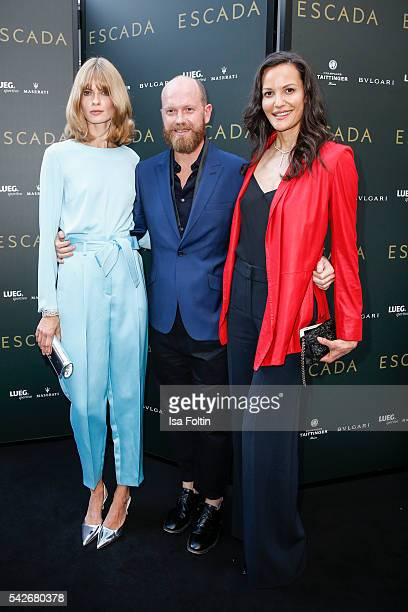 German Model Julia Stegner Daniel Wingate Fashion Director Escada and US Model Claudia Mason attend the ESCADA Flagship Store Opening on June 23 2016...
