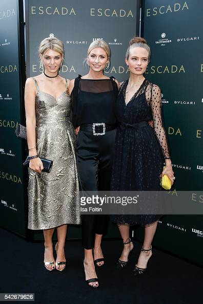 German models Luisa Hartema Lena Gercke and Anna Mila Guyenz attend the ESCADA Flagship Store Opening on June 23 2016 in Duesseldorf Germany