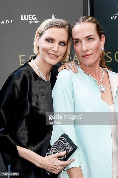 German Models Nadja Auermann and Tatjana Patitz attend the ESCADA Flagship Store Opening on June 23 2016 in Duesseldorf Germany