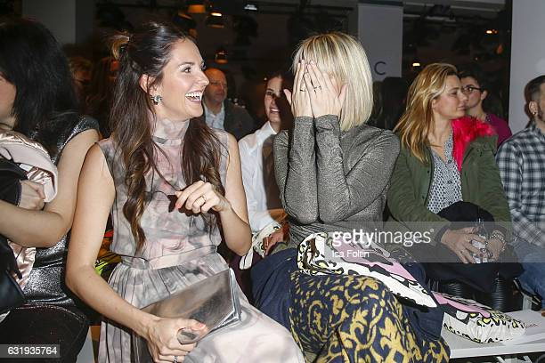 German moderator and singer Johanna Klum and german actress and model Monica Ivancan seen at the Lena Hoschek show during the MercedesBenz Fashion...
