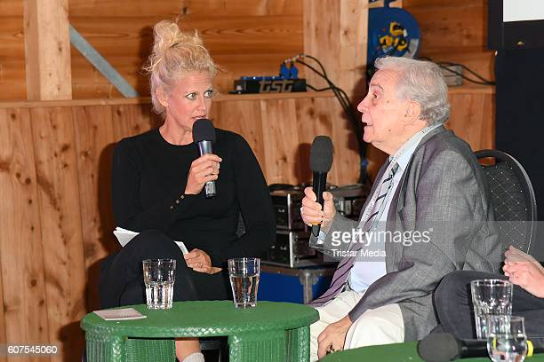 German moderator Barbara Schoeneberger and Valentin Platareanu the father of Alexandra Maria Lara attend the 'Talk About Homeland' during the...