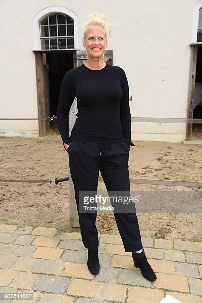 German moderator Barbara Schoeneberger attends the 'Talk About Homeland' during the international Film ohne Grenzen festival on September 18 2016 in...
