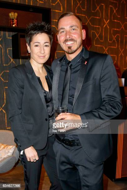 German moderator Dunja Hayali and Thorsten Hans attend the Audi Lounge Night Audi At The 67th Berlinale International Film Festival on February 9...