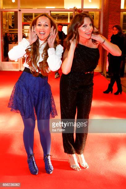 German moderator Moderatorin Claudia Campus and german moderator Jean Bork arrive at the Deutscher Hoerfilmpreis at Kino International on March 21...