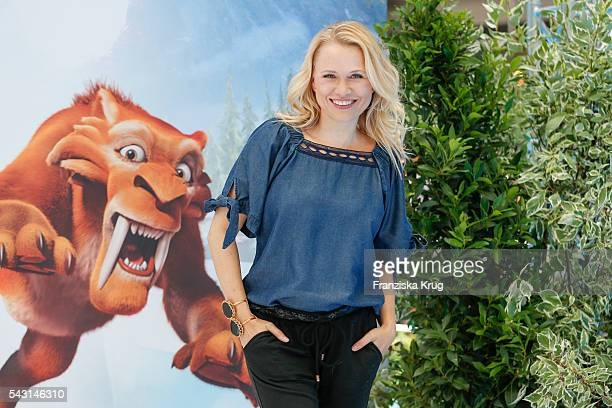 German moderator Nova Meierhenrich attends the 'Ice Age Kollision Voraus' German Premiere at CineStar on June 26 2016 in Berlin Germany