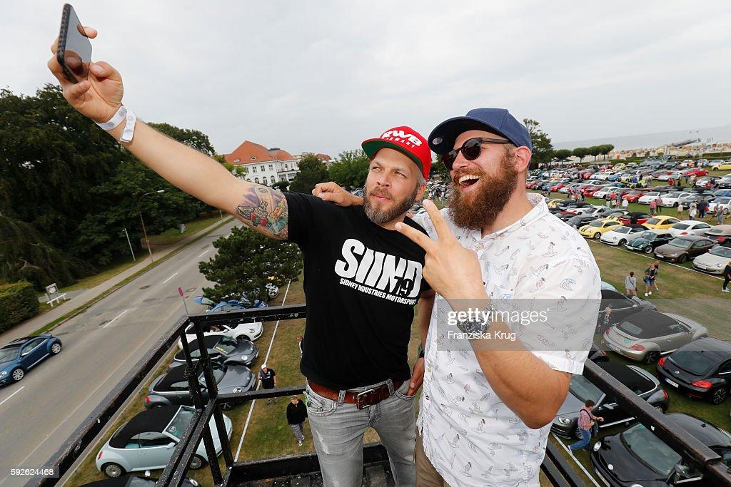 German moderator Sydney Hoffmann and german Rapper MC Fitti attend the 12th Beetle Sunshine Tour To Travemuende the 12th Beetle Sunshine Tour on...