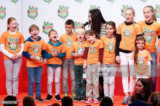 German moderator Verona Pooth with kids during the KinderTag to celebrate children's day on September 20 2016 in Noervenich near Dueren Germany