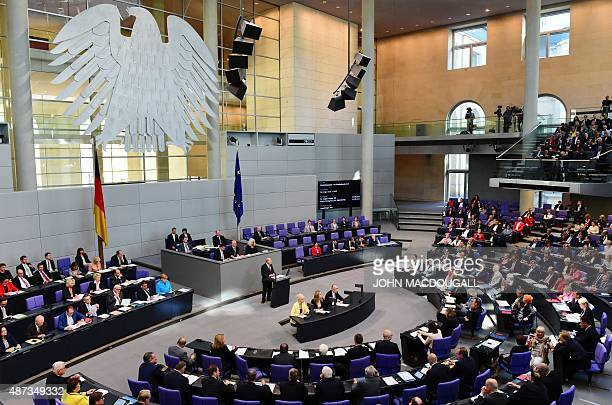 German MP Gregor Gysi of the Left Party speaks at the Bundestag Germany's lower house of parliament in Berlin on September 9 2015 The parlamentarians...