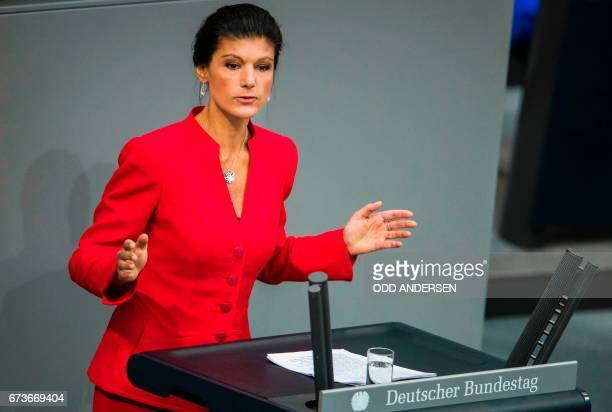 German MP of the Left party Sarah Wagenknecht delivers a speech on Europe at the Bundestag the German lower house of parliament on April 27 2017 in...