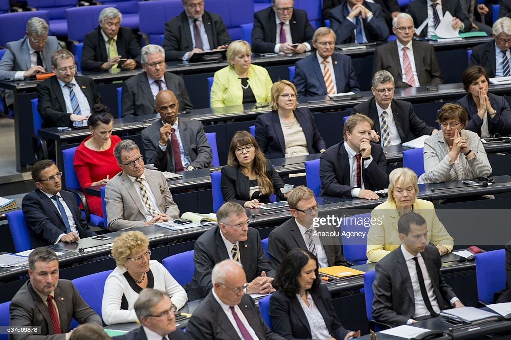 German MPs are seen after German MPs approved the Armenian 'genocide' resolution at the German Parliament (Bundestag) in Berlin, Germany on June 2, 2016. The resolution refers to the deportation of Armenians without reference to the deaths of Muslim Ottomans during World War I.