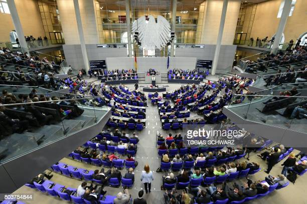 German MP´s debate prior to a vote on samesex marriage in Bundestag Germany´s lower house of Parliament in Berlin on June 30 2017 The vote is likely...