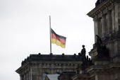 German national flag flies at halfmast on the top of the Reichstag building on March 12 2009 in Berlin Germany 17 year old Tim Kretschmer opened fire...