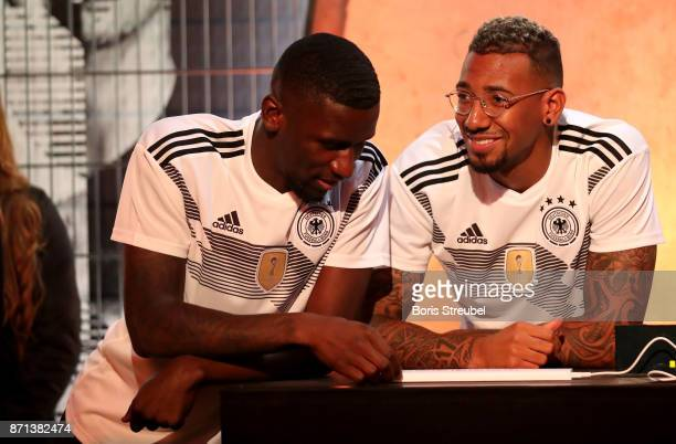 German National Football Team Players Antonio Ruediger and Jerome Boateng attend the presentation of the 2018 FIFA World Cup Russia Adidas jersey at...