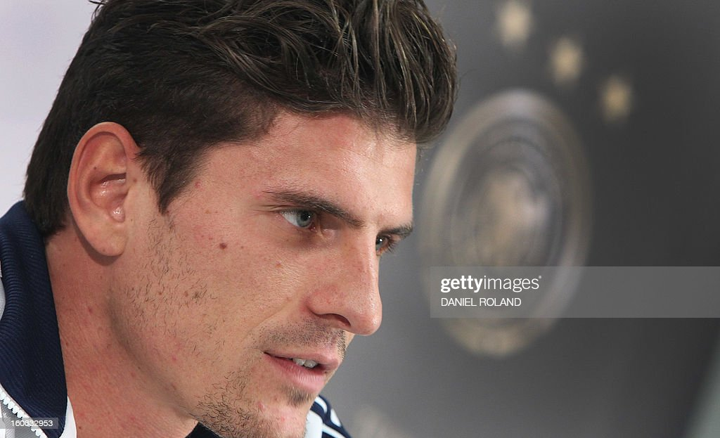 German national football team's forward Mario Gomez attends a press conference in Frankfurt am Main, on February 04, 2013 ahead of the international friendly game against France to be held in Paris on February 6. ROLAND