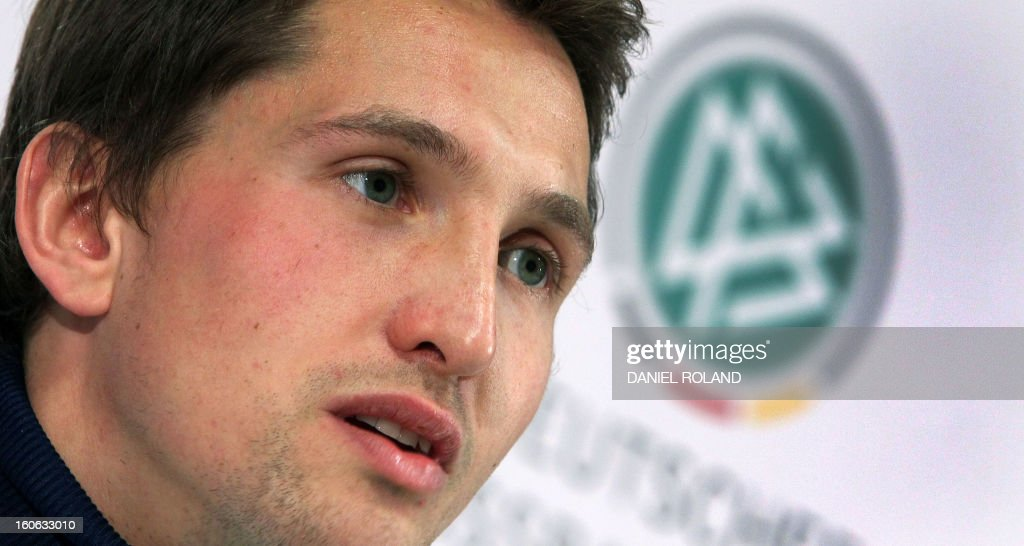 German national football team's goalkeeper Rene Adler speaks during a press conference in Frankfurt am Main, on February 04, 2013 ahead of the international friendly game against France to be held in Paris on February 6. ROLAND