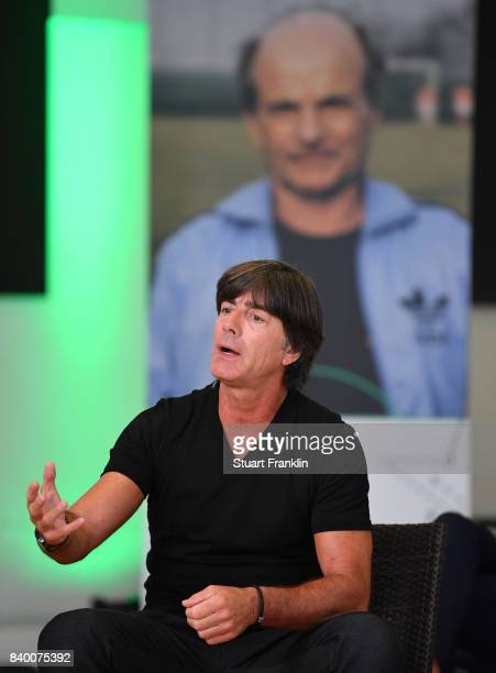 German National Head Coach Joachim Loew addresses the forum during the DFB and Bundesliga Coach Forum on August 28 2017 in Hanover Germany
