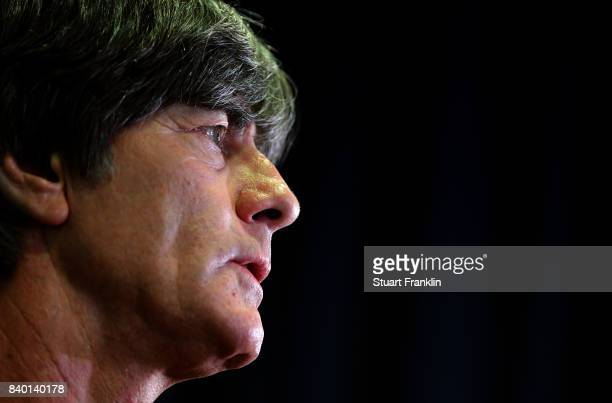 German National Head Coach Joachim Loew talks with the media after the DFB and Bundesliga Coach Forum on August 28 2017 in Hanover Germany