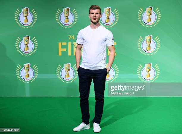 German national player Timo Werner arrives for the DFB Cup Final 2017 between Eintracht Frankfurt and Borussia Dortmund at Olympiastadion on May 27...