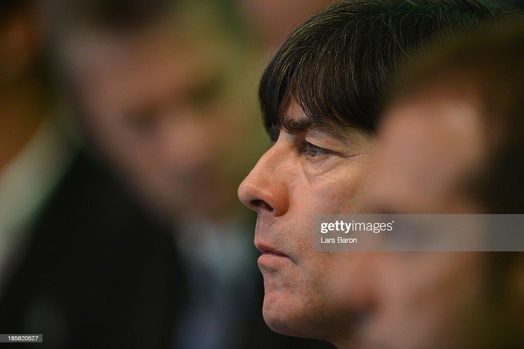 German national team coach Joachim Loew looks on during the DFB Bundestag Day 2 at NCC Nuremberg on October 25, 2013 in Nuremberg, Germany.