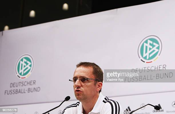 German National Team doctor Prof Dr Tim Meyer attends the German National Team press conference at Cologne's Guerzenich on September 1 2009 in...