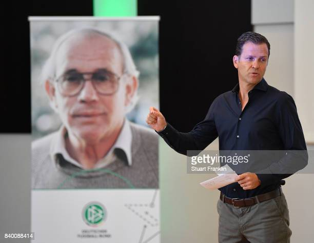 German National team manager Oliver Bierhoff ddresses the forum during the DFB and Bundesliga Coach Forum on August 28 2017 in Hanover Germany
