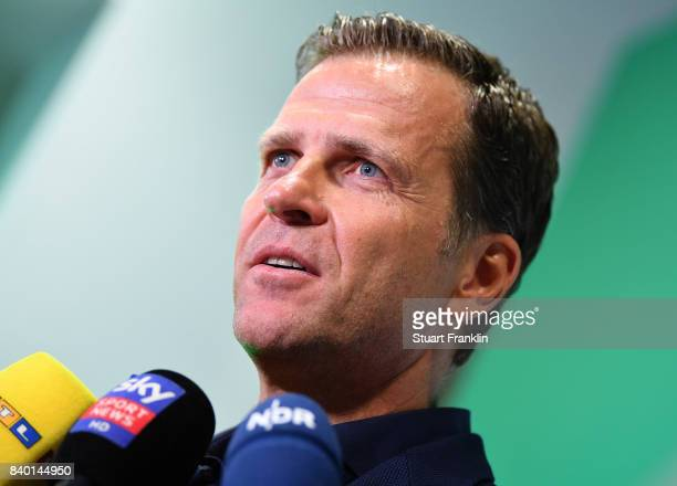 German National team manager Oliver Bierhoff talks with the media after the DFB and Bundesliga Coach Forum on August 28 2017 in Hanover Germany