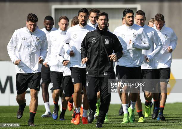 German national team trains ahead of the FIFA World Cup qualification match 2018 against Azerbaijan on March 24 2017 in Kamen Germany