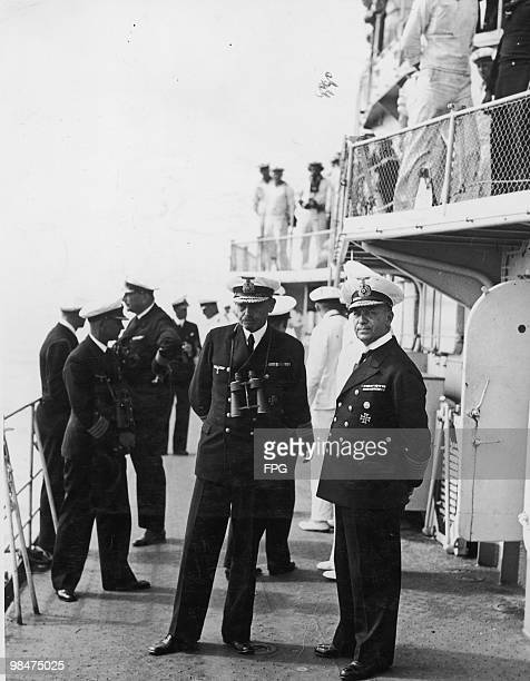 German naval officers Erich Raeder and Rolf Carls on manoeuvres aboard the Kriegsmarine's Z7 destroyer 'Hermann Schoemann' off Sassnitz in northern...