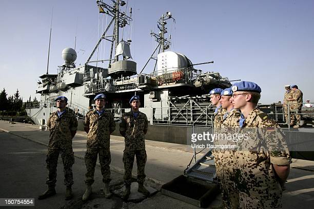 LEBANON BEIRUT German navy soldiers of the UNIFIL in front of the patrol boat Auerbach in the port of Beirut