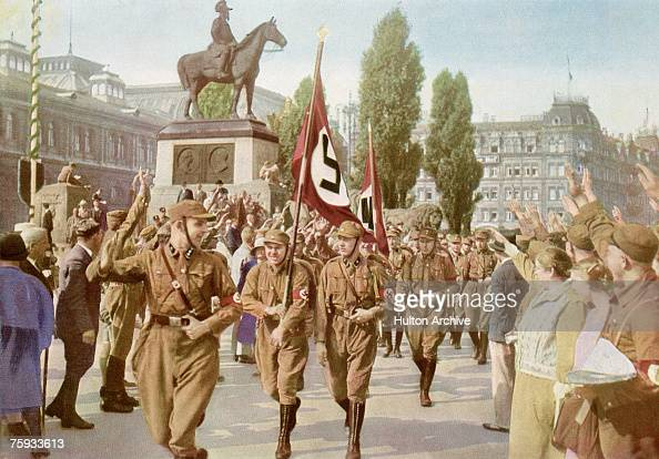 German Nazi activist Horst Wessel at the head of a parade of SA stormtroopers or 'brownshirts' in Nuremberg Germany 1929 Picture 41 of a series of...
