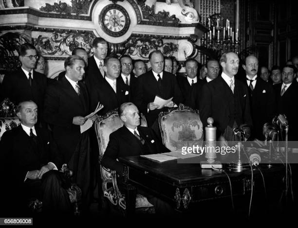 German Nazi Foreign Minister Joachim Von Ribbentrop and French Foreign Affairs minister Georges Bonnet attend the signing the FrancoGerman Pact of...