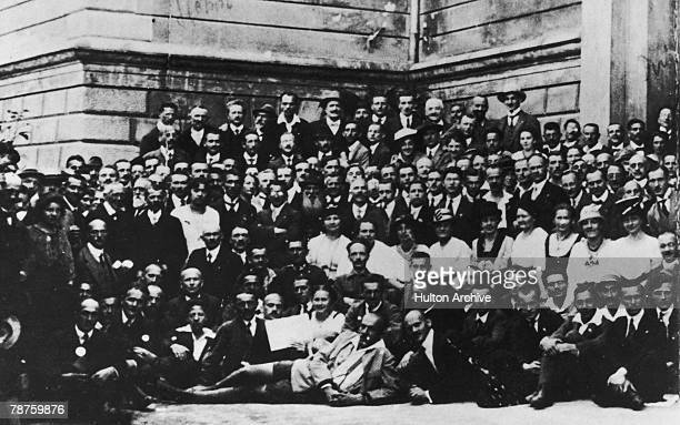 German Nazi party member Adolf Hitler at a Nazi Party convention in Salzburg Austria 1920