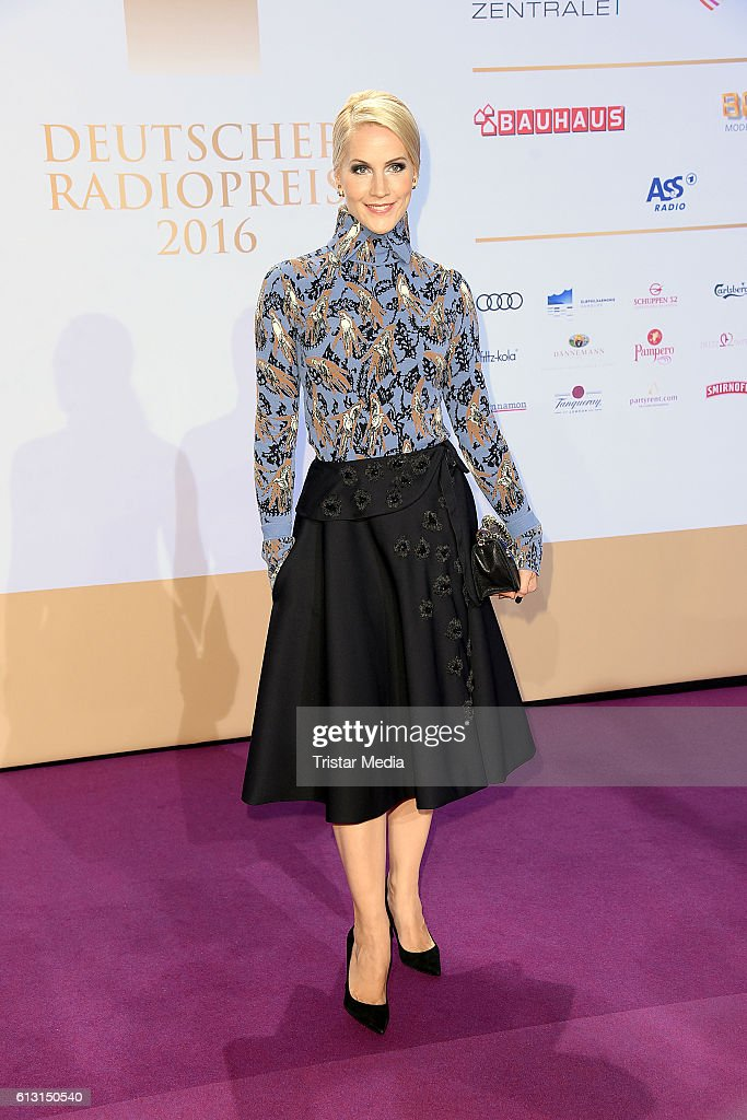 German new anchor Judith Rakers attends the Deutscher Radiopreis 2016 on October 6, 2016 in Hamburg, Germany.