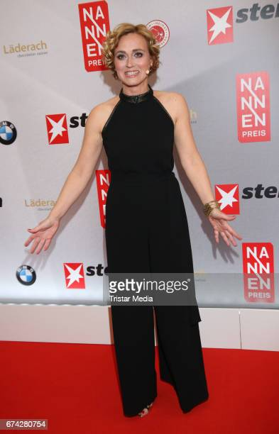 German news anchor Caren Miosga during the Henri Nannen Award red carpet arrivals on April 27 2017 in Hamburg Germany