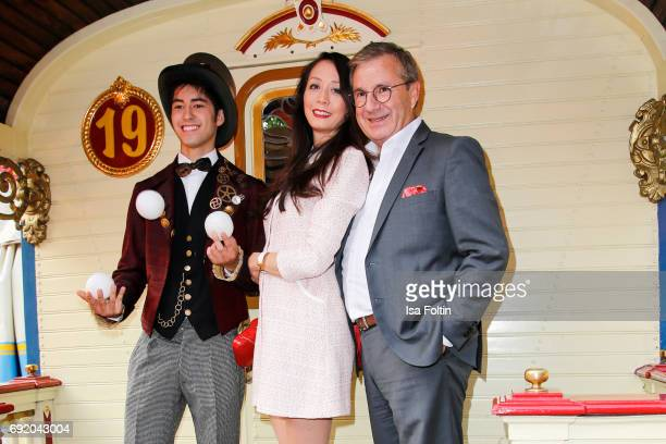 German news anchor Jan Hofer and his girlfriend Phong Lan during the Circus Roncalli Gala Premiere at Moorweide Park on June 3 2017 in Hamburg Germany