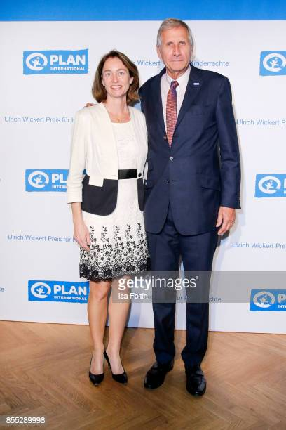 German news anchor Ulrich Wickert and German politician Katarina Barley attend the Ulrich Wickert Award For Children's Rights at Stadtbad Oderberger...