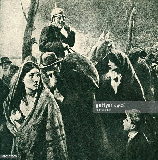 German occupation of Belgium A German soldier on horseback keeps watch over a group of women children and elderly men After the illustration by HM...