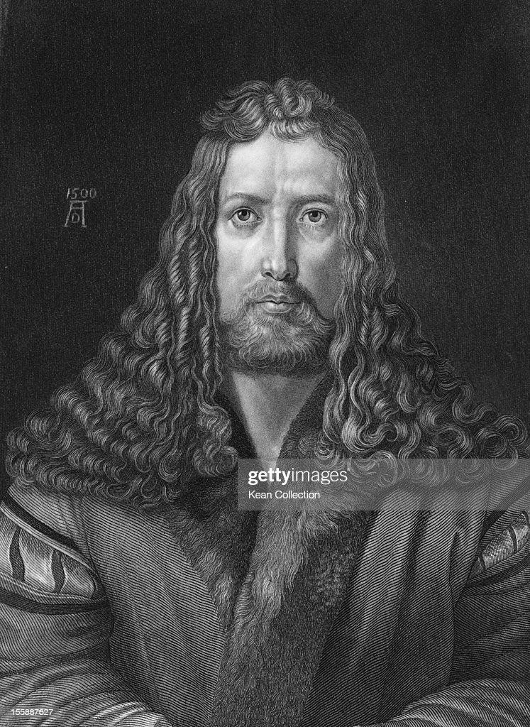 German painter and printmaker <a gi-track='captionPersonalityLinkClicked' href=/galleries/search?phrase=Albrecht+Durer&family=editorial&specificpeople=79194 ng-click='$event.stopPropagation()'>Albrecht Durer</a> (1471 - 1528), 1500. Engraved from a self-portrait by Durer.