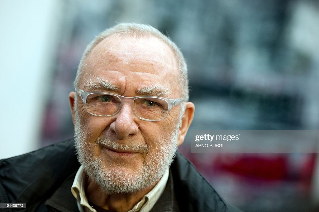 German painter <a gi-track='captionPersonalityLinkClicked' href=/galleries/search?phrase=Gerhard+Richter&family=editorial&specificpeople=661262 ng-click='$event.stopPropagation()'>Gerhard Richter</a> is pictured during a press preview on February 25, 2015 at the Albertinum museum in Dresden, eastern Germany. The 83-years-old artist organised a new hanging of his work in the rooms dedicated to him at the museum.