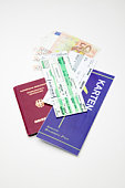 German passport and airline tickets