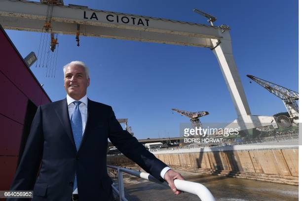 German Peter Lurssen Managing Director of German yacht builder Lurssen Group poses on April 3 2017 during the opening ceremony of the 'Grande Forme'...