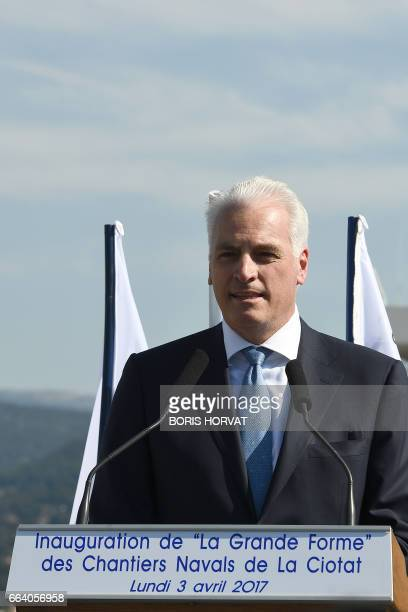 German Peter Lurssen Managing Director of German yacht builder Lurssen Group gives a speech on April 3 2017 during the opening ceremony of the...