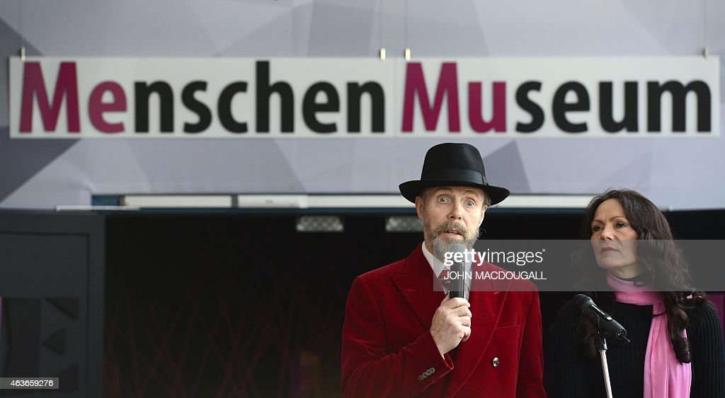 German plastinator <a gi-track='captionPersonalityLinkClicked' href=/galleries/search?phrase=Gunther+von+Hagens&family=editorial&specificpeople=226597 ng-click='$event.stopPropagation()'>Gunther von Hagens</a> (L) speaks next to his wife curator Angelina Whally during a press preview of the 'Menschen Museum' (Human Being Museum) on the eve of its opening in Berlin, on February 17, 2015. German anatomist <a gi-track='captionPersonalityLinkClicked' href=/galleries/search?phrase=Gunther+von+Hagens&family=editorial&specificpeople=226597 ng-click='$event.stopPropagation()'>Gunther von Hagens</a>, dubbed 'Doctor Death' for preserving and displaying dead bodies as artworks, opens a museum dedicated to the technique called plastination, after 20 years of touring the world with this controversial exhibition of human complete corpses and organs.