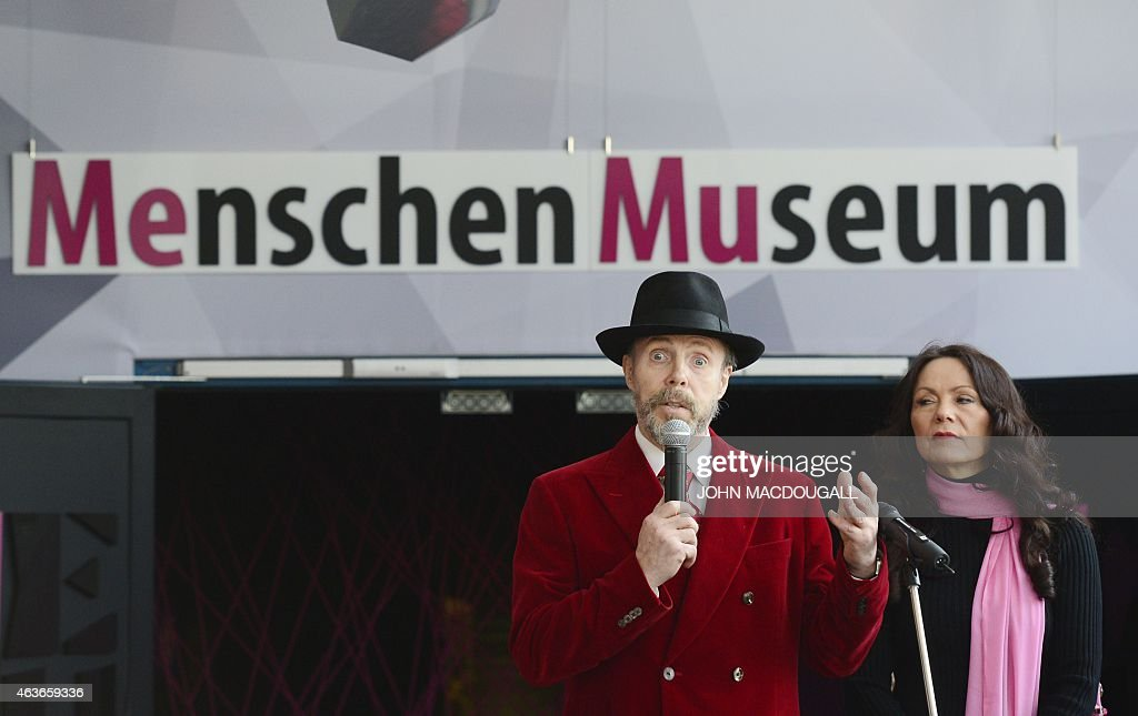 German plastinator <a gi-track='captionPersonalityLinkClicked' href=/galleries/search?phrase=Gunther+von+Hagens&family=editorial&specificpeople=226597 ng-click='$event.stopPropagation()'>Gunther von Hagens</a> (L) speaks next to his wife curator Angelina Whally during a press preview of the 'Menschen Museum' (Human Being Museum) on the eve of its opening in Berlin, on February 17, 2015. German anatomist <a gi-track='captionPersonalityLinkClicked' href=/galleries/search?phrase=Gunther+von+Hagens&family=editorial&specificpeople=226597 ng-click='$event.stopPropagation()'>Gunther von Hagens</a>, dubbed 'Doctor Death' for preserving and displaying dead bodies as artworks, opens a museum dedicated to the technique called plastination, after 20 years of touring the world with this controversial exhibition of human complete corpses and organs. MACDOUGALL