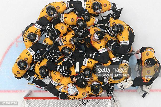 German players celebrate a 32 victory during the group B preliminary round game Germany vs USA at the 2016 IIHF Ice Hockey World Championship in...